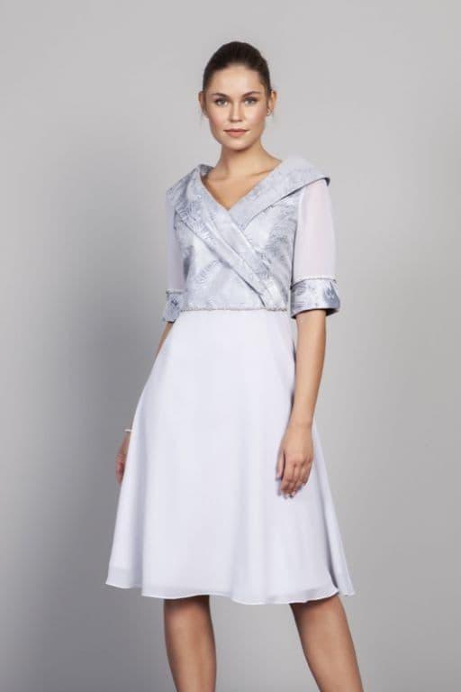 LIZABELLA  SILVER CHIFFON  DRESS