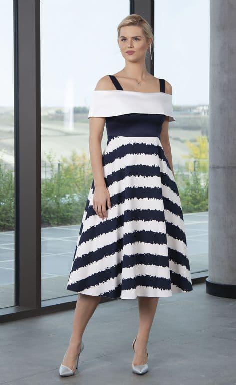 LIZABELLA NAVY  STRIPE FLARED DRESS