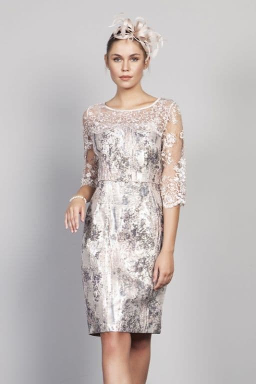 LIZABELLA PINK EMBOSSED PRINT DRESS