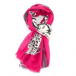 HOT PINK TIGER PRINT SCARF