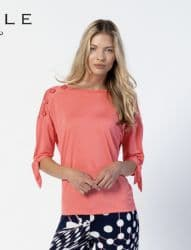 MARBLE CORAL TOP WITH SHOULDER BUTTON DETAIL