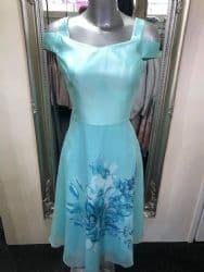 Lizabella Mint Green Midi Dress With Cold Shoulder Detail