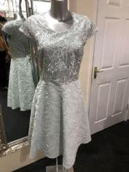 0519455eafa3a Ella Boo Silver Flared Midi Dress With Embroidered Overlay
