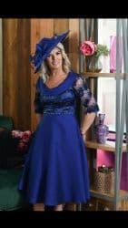 LIZABELLA ROYAL BLUE EMBOSSED FLARED DRESS