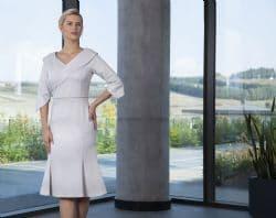 Lizabella Silver Embossed Flared Hem Dress