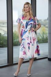 Lizabella Tropical Pattern Midi Dress