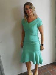 LIZABELLA GREEN FLARED HEM DRESS