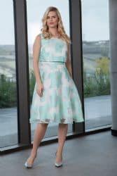 ELLA BOO MINT FLOWER  FLARED DRESS