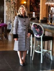 LIZABELLA HOUNDS TOOTH COAT WITH FAUX FUR