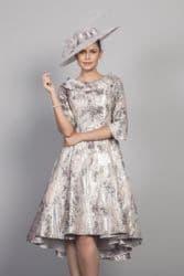 LIZABELLA PINK EMBOSSED PRINT FLARED DRESS