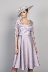 LIZABELLA LILAC EMBOSSED FLARED DRESS