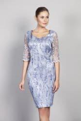 LIZABELLA BLUE EMBOSSED PRINT DRESS