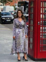 ELLA BOO GREY AND PURPLE PRINT DRESS