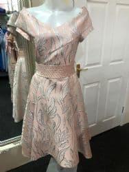 Bella Premium Collection Blush Dress With Siver Metallic Detail