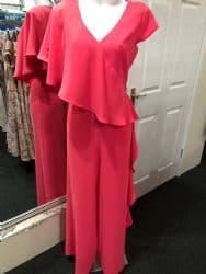 Ella Boo Frill Jumpsuit Hot Pink
