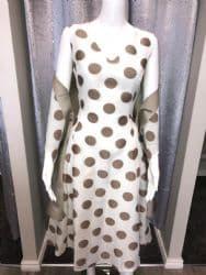 Lizabella Bronze and White Polka Dot Dress With Matching Wrap