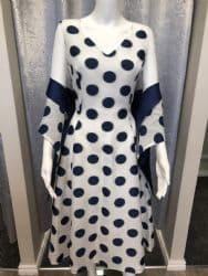 Lizabella Navy and White Polka Dot Dress