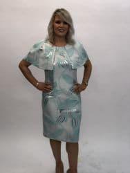 Ella Boo Mint Green Cape Dress With Metallic Detail