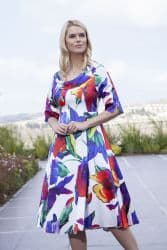 LIZABELLA FLOWER PRINT FLARED DRESS