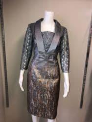 ELLA BOO GUNMETAL EMBOSSED DRESS