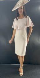 LIZABELLA BLUSH PINK CAPE SLEEVE DRESS