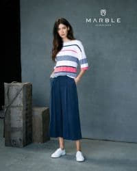 MARBLE CORAL & NAVY STRIPED SWEATER