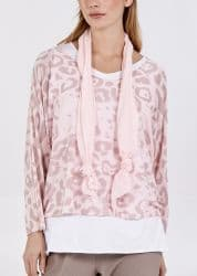 BLUSH LEOPARD PRINT LAYERED TOP WITH SCARF