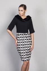 LIZABELLA BLACK & CREAM DRESS & BOLERO JACKET
