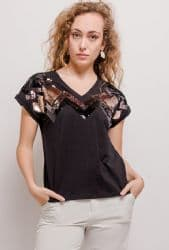 BLACK SEQUIN T SHIRT