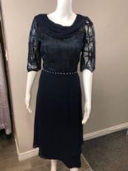 LIZABELLA NAVY DRAPE DRESS