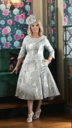 LIZABELLA SILVER EMBOSSED FLARED DRESS