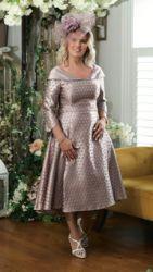BELLA PREMIUM PINK EMBOSSED FLARED DRESS