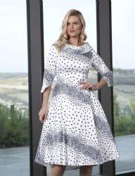 LIZABELLA NAVY AND WHITE POLKA DOT FLARED DRESS